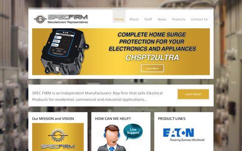 Screenshot of Home Page specfirm.com - Spec Firm Inc. - captured Sept. 25, 2018