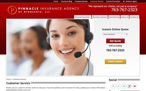 Screenshot of Support Page pinnacleinsuranceofmn.com - Customer Service | Pinnacle Insurance Agency - captured Dec. 9, 2015