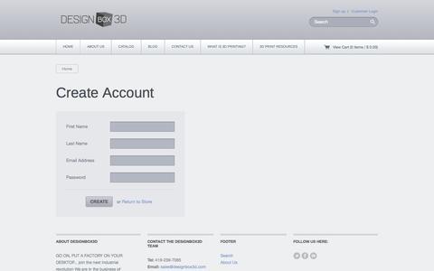 Screenshot of Signup Page designbox3d.com - Designbox3d — Create Account - captured Sept. 30, 2014