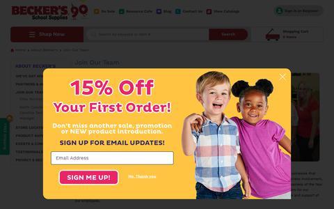 Screenshot of Signup Page shopbecker.com - Join Our Team | Becker's School Supplies - captured Oct. 18, 2018