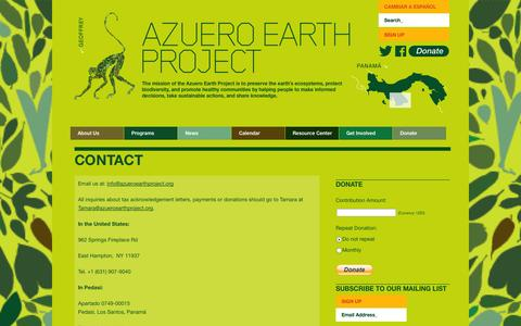 Screenshot of Contact Page azueroearthproject.org - Azuero Earth Project | Contact - Azuero Earth Project - captured Sept. 30, 2014
