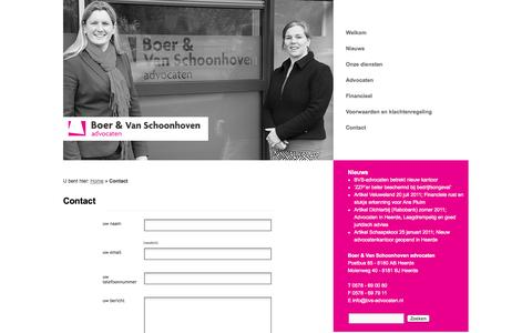 Screenshot of Contact Page bvs-advocaten.nl - Contact | Boer en Van Schoonhoven advocaten - captured Oct. 5, 2014