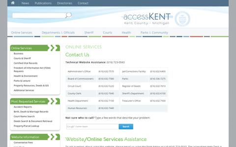 Screenshot of Contact Page accesskent.com - accessKent | Kent County, Michigan - captured Sept. 23, 2014