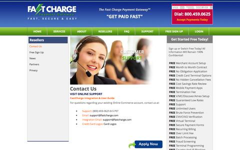 Screenshot of Contact Page fastcharge.com - Merchant Account Support & Credit Card Processing Support - captured June 16, 2016