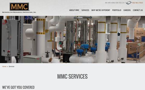 Screenshot of Services Page metromech.com - Mechanical Systems Design, Fabrication & Construction | Metropolitan Mechanical Contractors, Inc. - captured Oct. 18, 2017