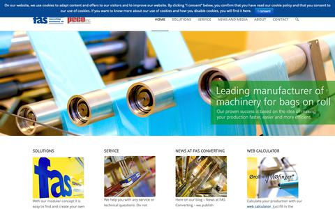 Screenshot of Home Page fasconverting.se - FAS Converting Machinery AB | Leading manufacturer of machinery for bags on roll - captured Oct. 9, 2018