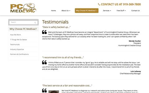 Screenshot of Testimonials Page pcmedevac.com - Testimonials - Cary, Raleigh, Morrisville   PC MedEvac, Inc - captured Dec. 5, 2015