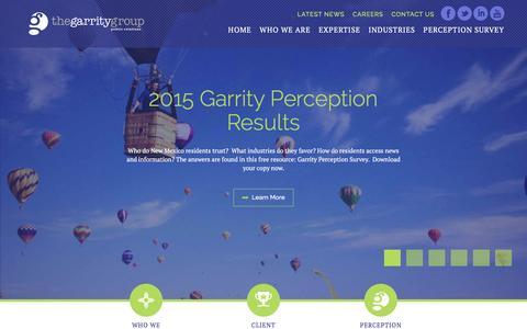 Screenshot of Home Page garritypr.com - The Garrity Group | Public Relations | PR Agency | Albuquerque, New Mexico - captured Feb. 25, 2016