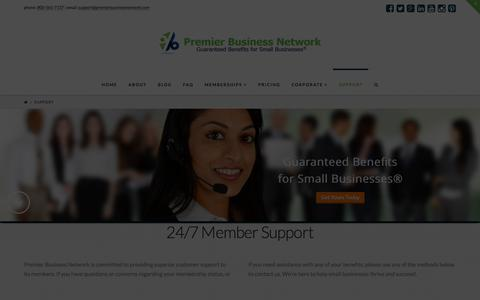 Screenshot of Support Page premierbusinessnetwork.com - Contact Support | Premier Business Network™ - captured Jan. 31, 2016