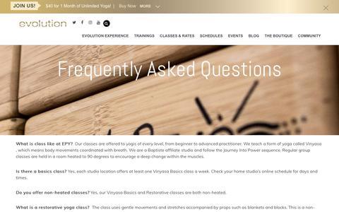 Screenshot of FAQ Page evolutionpoweryoga.com - FAQ - Evolution Power Yoga - captured Nov. 5, 2018