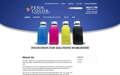 Screenshot of About Page penncolor.com - About Penn Color, Inc.: Pigment Dispersions, Color Concentrates & Masterbatches - captured Oct. 2, 2014