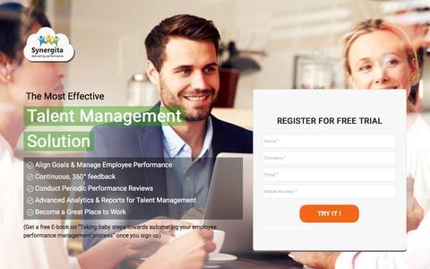 Screenshot of Landing Page synergita.com - Talent Management Software - captured Aug. 17, 2016
