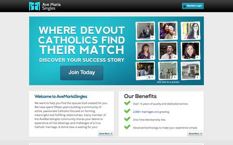 Screenshot of Home Page avemariasingles.com - where devout Catholics find their match - captured Sept. 30, 2014