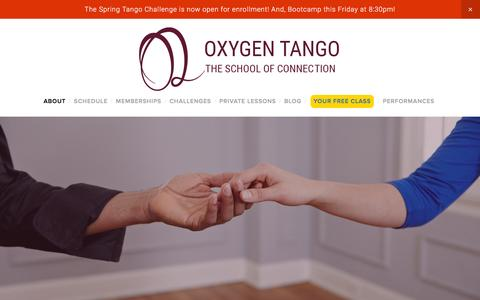 Screenshot of About Page oxygentango.com - About — Oxygen Tango - captured Feb. 27, 2016