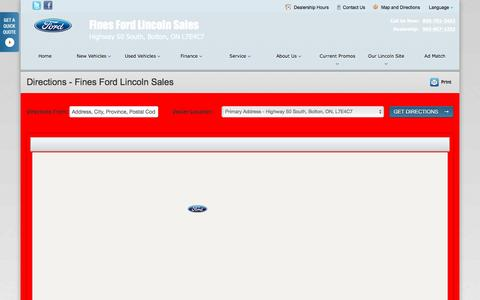 Screenshot of Maps & Directions Page finesford.ca - Directions at Fines Ford Lincoln Sales - Your Bolton, Ontario Ford dealer - captured Jan. 23, 2016