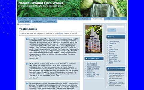 Screenshot of Testimonials Page woundcarespray.com - Testimonials | Natural Wound Care Works - captured March 7, 2016