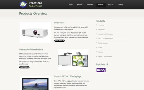 Screenshot of Products Page practicalav.co.uk - Audio Visual Specialists - System Design and Installation Nationwide - captured Oct. 2, 2014