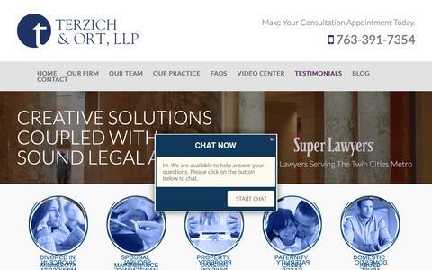 Screenshot of Testimonials Page tolawoffice.com - Testimonials | Terzich & Ort, LLP | Maple Grove Minnesota - captured Oct. 18, 2018