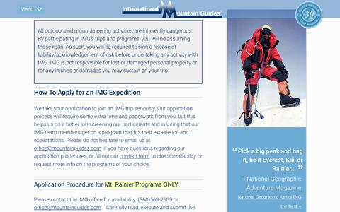 Screenshot of Signup Page mountainguides.com - Sign Up for an Expedition with International Mountain Guides - captured Nov. 10, 2016