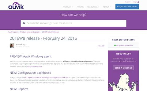 Screenshot of Support Page auvik.com - 2016W8 release - February 24, 2016 – Auvik Support - captured Nov. 17, 2017