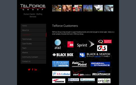 Screenshot of Testimonials Page telforcegroup.com - Telforce Group Customers - captured Oct. 26, 2014