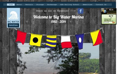 Screenshot of Home Page bigwatermarina.com - Big Water Marina - captured June 20, 2015