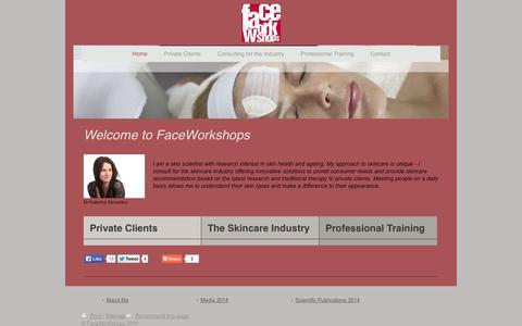 Screenshot of Home Page faceworkshops.com - Home - FaceWorkshops skincare specialists, personalised skincare advice, skincare consultations - captured Sept. 30, 2014