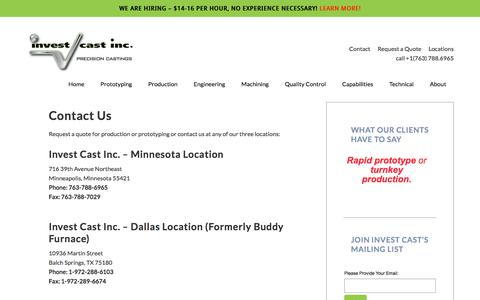 Screenshot of Contact Page Locations Page investcastinc.com - Contact Invest Cast Inc – Metal Casting Production & Prototyping Quotes — Invest Cast Inc - captured July 9, 2018
