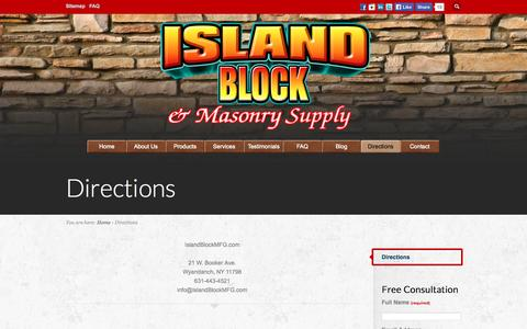 Screenshot of Maps & Directions Page islandblockmfg.com - Island Block and Masonry Supply | 21 W. Booker Ave. | Wyandanch, NY 11798 | Long Island | Suffolk | Nassau - captured Oct. 6, 2014