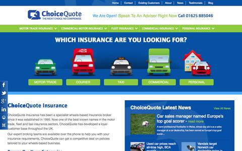 Screenshot of Home Page choicequote.co.uk - ChoiceQuote - Commercial and Private Motor Insurance Specialists - captured Jan. 23, 2015
