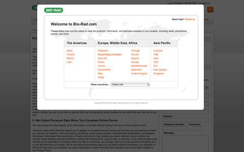 Screenshot of Privacy Page bio-rad.com - Privacy | Bio-Rad - captured Aug. 30, 2016