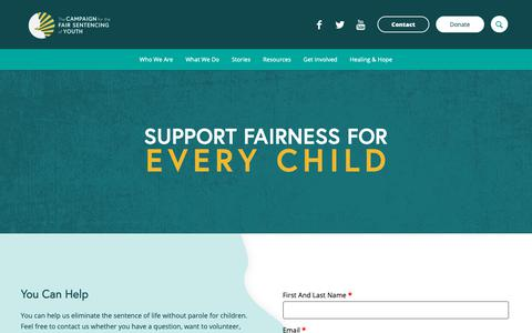 Screenshot of Contact Page fairsentencingofyouth.org - Contact - Campaign for the Fair Sentencing of Youth | CFSY - captured Sept. 26, 2018