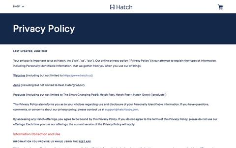 Screenshot of Privacy Page hatch.co - Privacy Policy | Hatch - captured Oct. 30, 2019