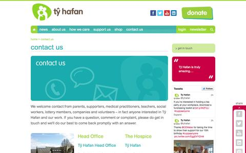 Screenshot of Contact Page tyhafan.org - contact us - captured Sept. 30, 2014