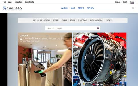 Screenshot of Press Page safran-group.com - Media | Safran - captured Dec. 12, 2015