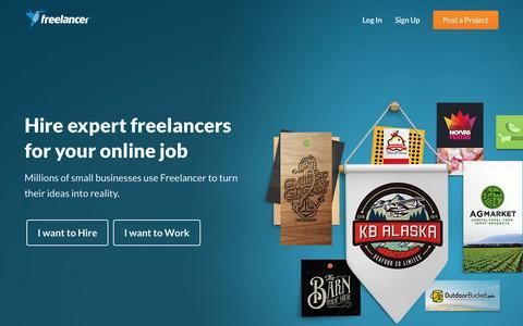 Screenshot of Home Page freelancer.com - Hire Freelancers & Find Freelance Jobs Online - Freelancer - captured Feb. 12, 2016