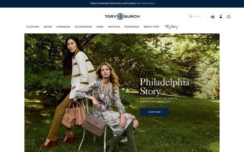 Screenshot of Home Page toryburch.co.uk - Tory Burch | Women's Clothing, Dresses, Shoes, Handbags & Accessories - captured Oct. 7, 2017