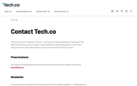 Screenshot of Contact Page tech.co - Contact Tech.co – Get in Touch with Our Team | Tech.Co - captured Dec. 12, 2019