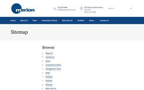 Screenshot of Site Map Page merionpartners.com - Sitemap - Merion - captured Nov. 28, 2016