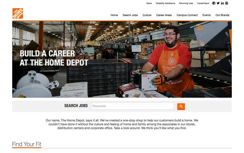 Screenshot of Jobs Page homedepot.com - The Home Depot Jobs | Jobs At Home Depot | The Home Depot Careers, Openings, Positions - captured Feb. 21, 2019