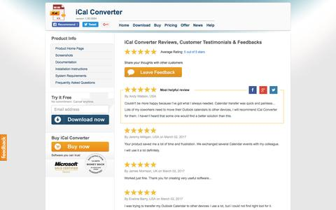Screenshot of Testimonials Page icalconverter.com - iCal Converter Reviews, Customer Testimonials & Feedbacks - captured March 25, 2017