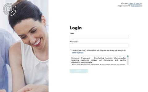 Screenshot of Login Page notarycam.com - NotaryCam - captured Oct. 31, 2019