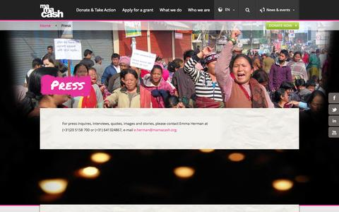 Screenshot of Press Page mamacash.org - Press - Mama Cash - captured Sept. 30, 2014