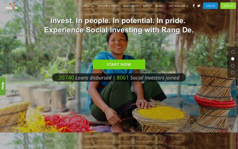 Screenshot of Home Page rangde.org - Rang De - Invest in rural entrepreneurs today - captured Oct. 1, 2015