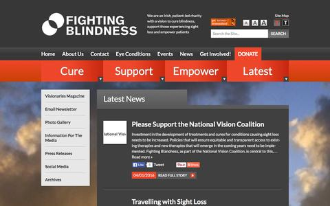 Screenshot of Press Page fightingblindness.ie - News Articles Archive - Fighting Blindness - captured Jan. 8, 2016