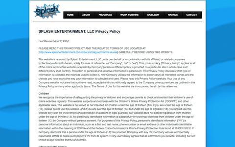 Screenshot of Privacy Page zerolag.com - SPLASH ENTERTAINMENT, LLC Privacy Policy | Splash Entertainment, LLC. - captured Oct. 26, 2014