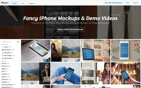 Screenshot of Home Page placeit.net - Free iPhone Mockup Generator & App Demo Videos by Placeit - captured Jan. 18, 2016