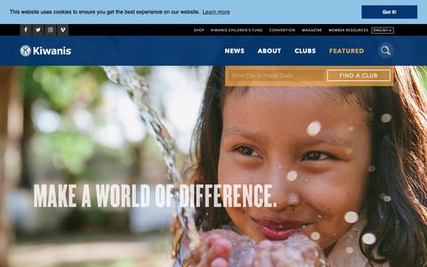 Screenshot of Home Page kiwanis.org - Kiwanis International - captured Oct. 15, 2018