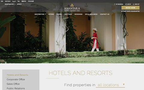 Screenshot of Contact Page anantara.com - Contact Us - captured April 29, 2018