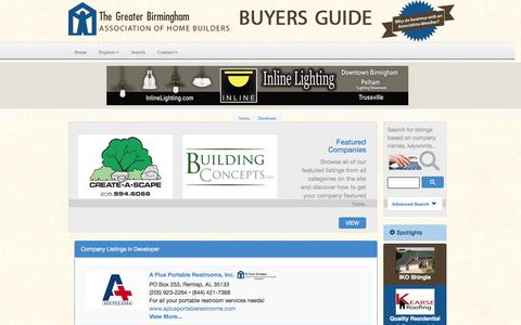 Screenshot of Developers Page birminghambuildersbuyersguide.com - Developer - Company Listings :: Greater Birmingham Association of Home Builders Buyers Guide - captured April 12, 2016